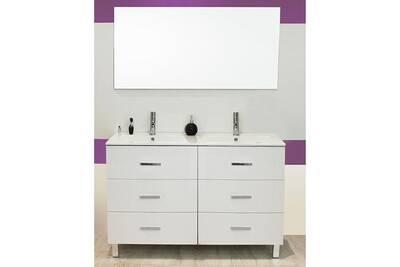 Meuble sur pieds 120 cartanne, blanc + double vasque, miroir, 2 spots