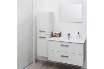 Meuble Salle De Bain Suspendu 80 Cm Syrthe Blanc Vasque Miroir Evidence