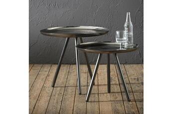 60c4cb4cda26bc Table basse Lot de 2 tables basses naldo plateau acier noir Inside 75