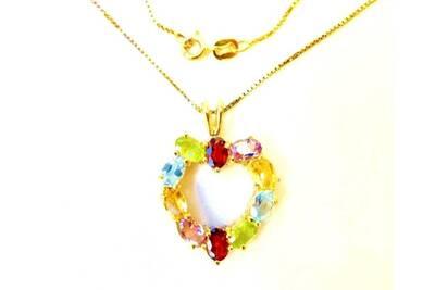100% d'origine moins cher grosses soldes Chaine avec pendentif coeur cristal swarovski plaqué or 750% 18 carats sur  argent 925