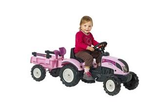 Véhicule à pédales Falk Tracteur à chevaucher à pédale avec remorque princess trac rose