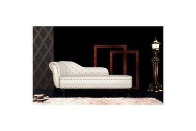 ensemble table et chaise de jardin vidaxl chaise longue cuir artificiel blanc crme - Chaise Longue Cuir