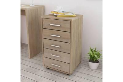 Armoires et meubles de rangement ensemble caracas caisson à tiroir de  bureau avec roulettes 5 tiroirs chêne