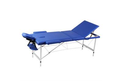 Table De Massage Vidaxl Table De Massage Pliante 3 Zones Bleu Cadre