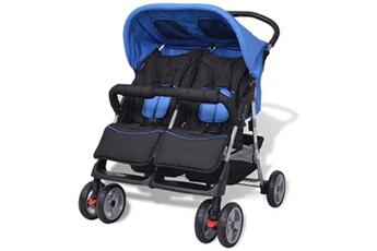 Poussette 3 roues Vidaxl Poussette à deux places acier bleu et noir