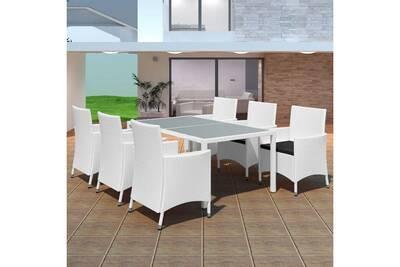 Meubles de jardin selection moscou jeu de mobilier de jardin 13 pcs blanc  crème résine tressée