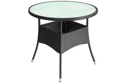 Table De Jardin Resine Tressee 60 X 74 Cm Noir