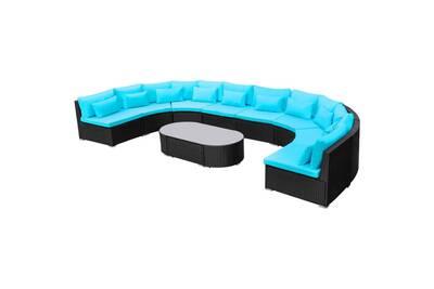 Ensemble table et chaise de jardin Vidaxl Mobilier de jardin bleu ...