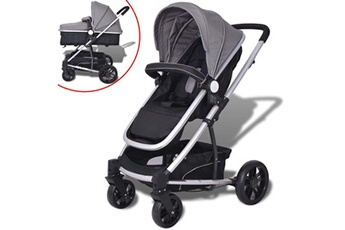 Poussette 3 roues Vidaxl Poussette/landau de bébé 2-en-1 aluminium gris et noir