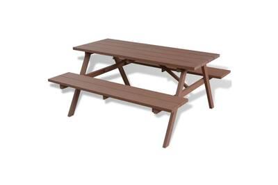Ensemble table et chaise de jardin Vidaxl Table et bancs de pique ...