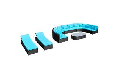 Mobilier de jardin 13 pcs avec coussins résine tressée bleu