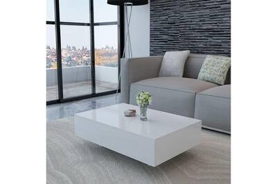 table basse vidaxl table basse haute brillance blanche darty. Black Bedroom Furniture Sets. Home Design Ideas