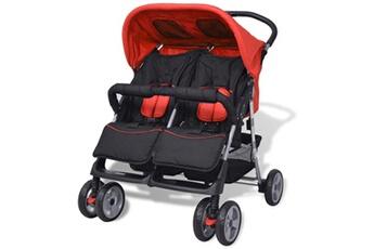 Poussette 3 roues Vidaxl Poussette à deux places acier rouge et noir