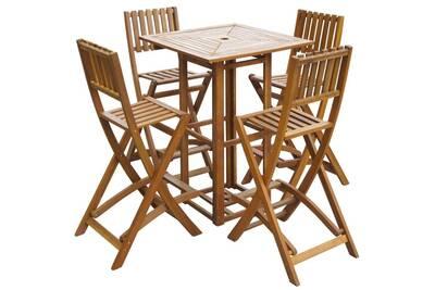 Mobilier de jardin collection managua mobilier de bar d\'extérieur 5 pcs  bois d\'acacia solide