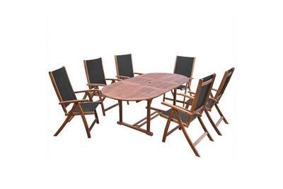 Mobilier à dîner d\'extérieur 7 pcs en bois d\'acacia solide