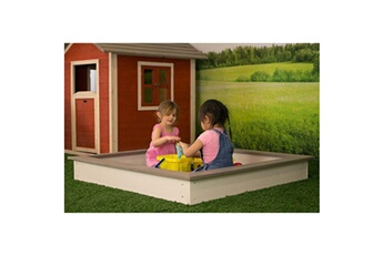 Bac à sable Sunny Bac à sable en bois 127 x 127 cm marron et blanc c052.001.00