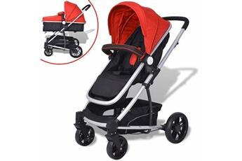 Poussette 3 roues Vidaxl Poussette/landau bébé 2-en-1 aluminium rouge et noir