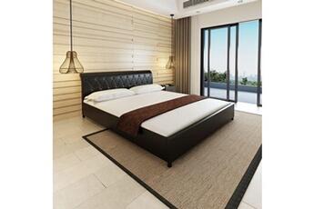 Dosseret et tête de lit Lit double avec matelas 180 x 200 cm cuir  artificiel noir 2a65997ca2a5