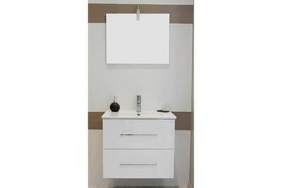 Meuble salle de bain Evidence Meuble à suspendre 60 marmande blanc + ...