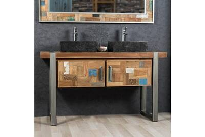 Meuble double de salle de bain factory teck métal 140 cm