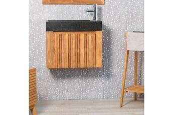 meuble salle de bain lave main et meuble suspendu en teck luxe 60 noir wanda collection
