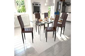 Ensemble Table Chaise Lot De 6 Chaises Marron Aux Lignes Fines Avec Une En