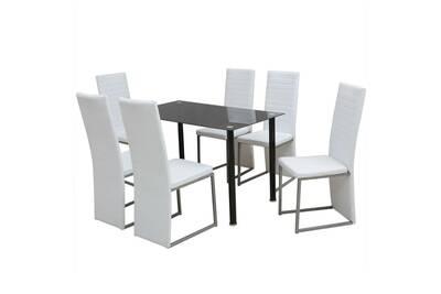 Ensemble à dîner sept pièces blanc et noir