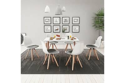 Ensembles de meubles serie bagdad ensemble de table et de chaises 7 pièces  blanc et noir