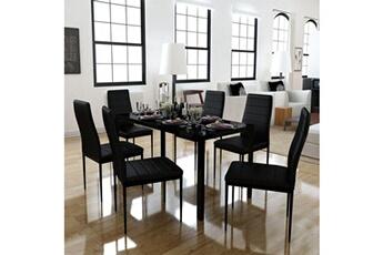 Ensemble Table Chaise De A Manger Sept Pieces Noir Vidaxl