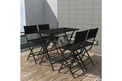 Meubles de jardin gamme paris mobilier de jardin 5 pcs noir résine tressée