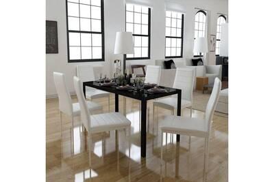 Ensembles de meubles ensemble ngerulmud ensemble de table à manger sept  pièces noir et blanc