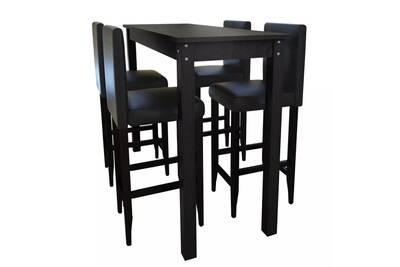 Ensembles de meubles collection alger set de 1 table de bar et 4 tabourets  noir
