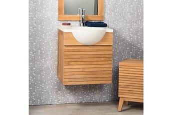 meuble salle de bain meuble salle de bain suspendu avec vasque teck 50 contemporain crme wanda
