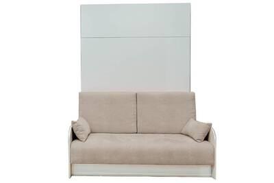 lit de 2 places leader bed armoire lit escamotable 140cm box canap coffre intgr tissu cru - Armoire Lit Escamotable Canape Integre