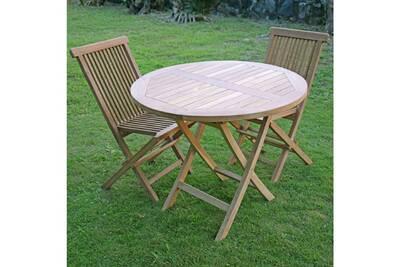 Salon de jardin en teck ecograde daru, table pliante ronde d. 90 cm + 2  chaises java