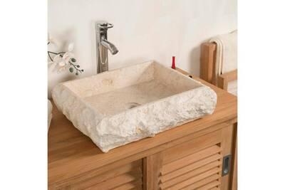Vasque à poser rectangle en marbre naples crème