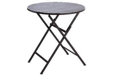 Table de jardin Aubry Gaspard Table de terrasse pliante marron en ...