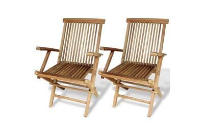 Chaise et fauteuil de jardin Vidaxl Chaises pliables de jardin 2 pcs ...