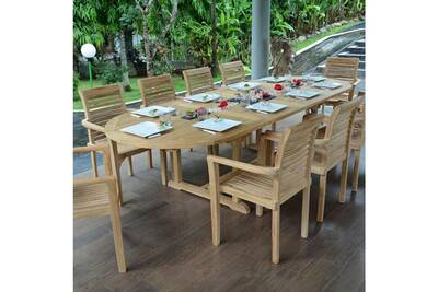 Table de jardin en teck extensible 300 x 110 cm - florence