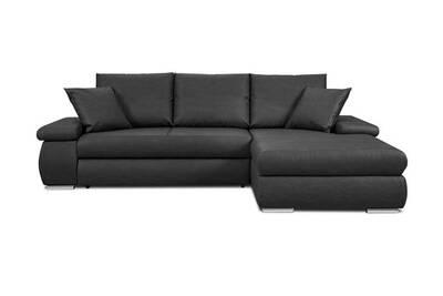 Canapé fixe Mobilier Canapé d angle convertible en simili cuir noir et  rangement dans les accoudoirs daryl - noir - droit 870ecc1c5c4a