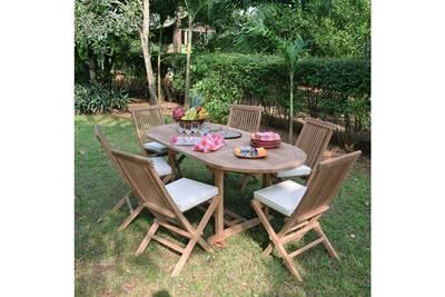 Salon de jardin en teck ecograde manille, table extensible 1.2 à 1,8 m + 6  chaises java