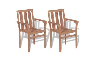 Chaises empilables de jardin 2 pcs bois de teck solide