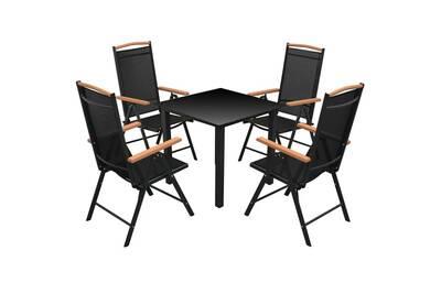 Mobilier de jardin collection manama mobilier à dîner de jardin 5 pcs et  chaises pliables aluminium