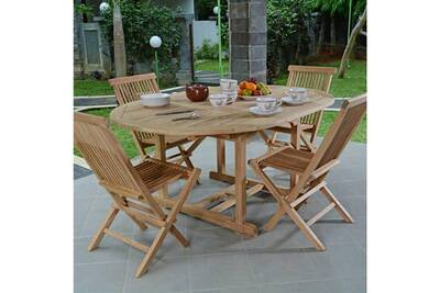Salon de jardin en teck ecograde wesport, table ronde extensible 1,2 à 1,7  m + 4 chaises java