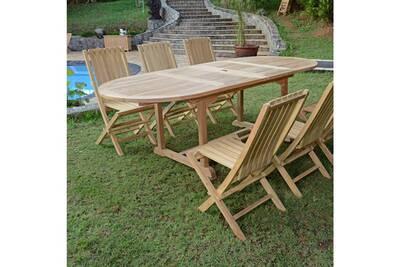 Salon de jardin en teck ecograde toga, table extensible 1.60 à 2.40 m + 6  chaises karimun