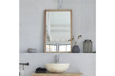 Miroir rectangulaire en bois d\'hévéa 50