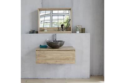 Meuble suspendu de salle de bain en bois d\'hévéa 1 tiroir 80