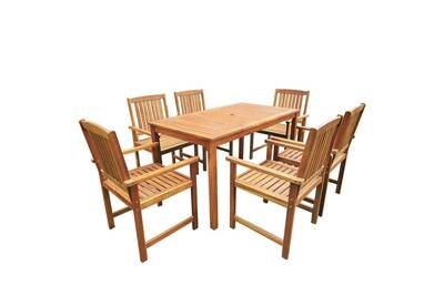 Jeu de salle à manger d\'extérieur 7 pcs bois d\'acacia solide