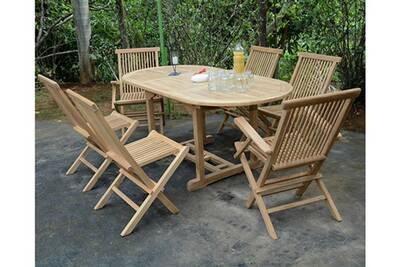 Salon de jardin en teck qualité ecograde séville, 6 places