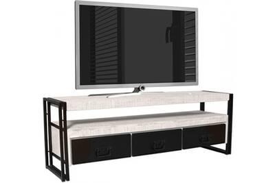 Meuble TV Comforium Meuble tv style industriel en bois de manguier ...